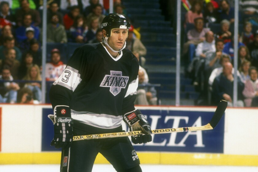 Kings defenseman Tom Laidlaw during a game against the Washington Capitals in 1990.