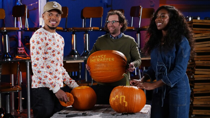 """Chance the Rapper, left, Kyle Mooney and Ego Nwodim on """"Saturday Night Live"""" on NBC."""
