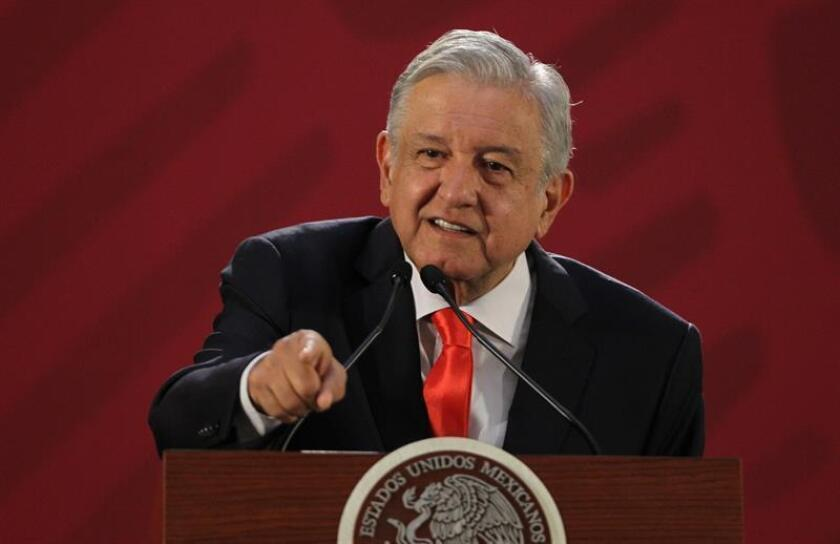 """Mexican President Andres Manuel Lopez Obrador had a """"friendly and respectful"""" telephone conversation with US President Donald Trump in which he said that the Mexican plan to solve the migratory phenomenon will cost $5 billion. Mexico City, Mexico. DEC. 13, 2018. EPA-EFE/Mario Guzman"""