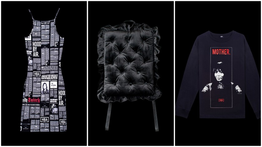 """The just-announced Hood by Air X """"Empire"""" collection includes, from left, dresses, pillow backpacks and long-sleeved T-shirts inspired by the plot lines and characters in the hit Fox drama."""