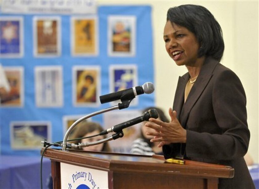 In this photograph provided by Rabinowitz-Dorf, former Secretary of State Condoleezza Rice speaks to grade school students at the Jewish Primary Day School in Washington, on Sunday, May 3, 2009. (AP Photo/Rainowitz-Dorf, Ron Sachs)
