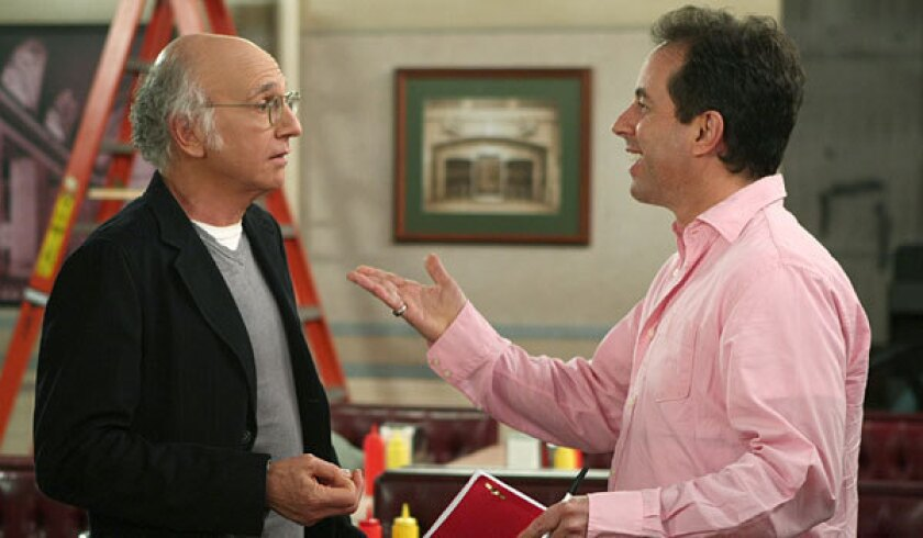 """Larry David, left, and Jerry Seinfeld on an episode of """"Curb Your Enthusiasm."""""""