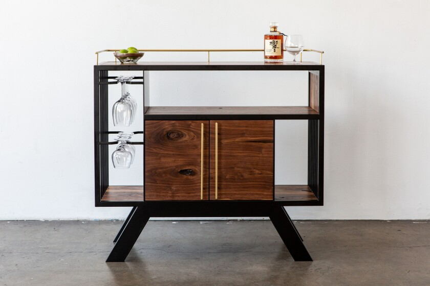 Lloyd Drinks Cabinet inspired by Frank Lloyd Wright in oiled walnut and hand-polished brass from Los