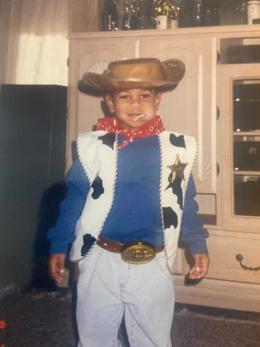 Michael Silva dressed as a sheriff as a child