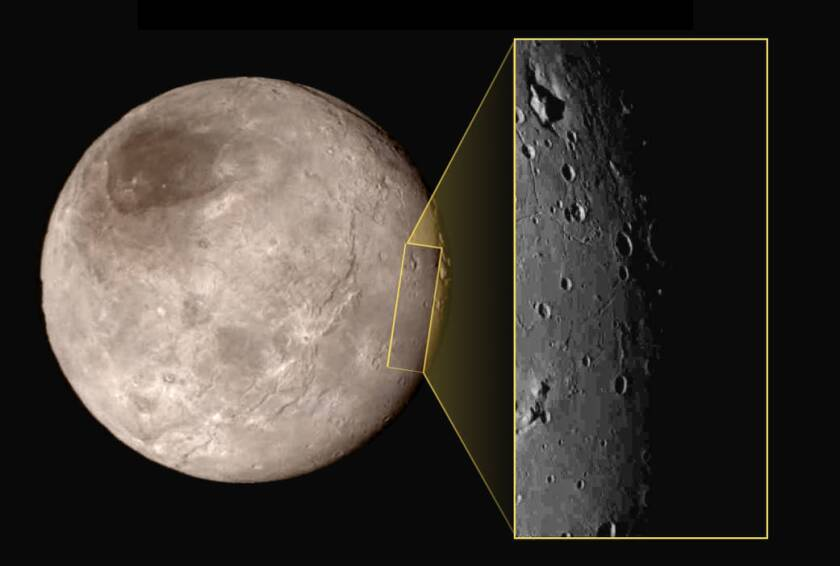 A new image of Pluto's moon Charon reveals a strange depression with a peak inside, visible at upper left of the inset.