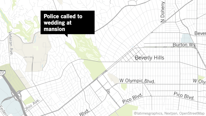 Map shows approximate location of party in Holmby Hills that prompted noise complaints