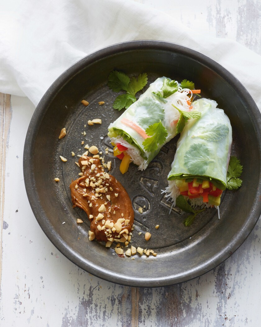 Rainbow Summer Rolls from an inside page of the book, What's Gaby Cooking by Gaby Dalkin, published