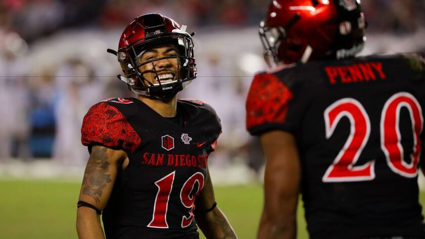 San Diego State running back Donnel Pumphrey reacts with teammate running back Rashaad Penny (20) during the second half of an NCAA college football game Saturday, Nov. 5, 2016, in San Diego. (AP Photo/Gregory Bull)