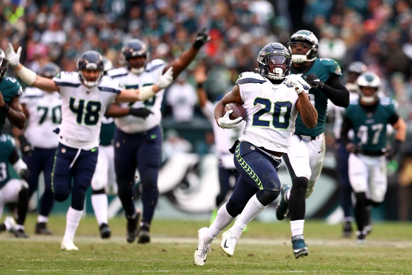 Seattle Seahawks running back Rashaad Penny runs with the ball.