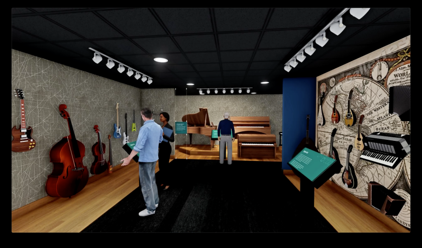 Computer rendering of one of the new galleries being redesigned at the Museum of Making Music in Carlsbad.