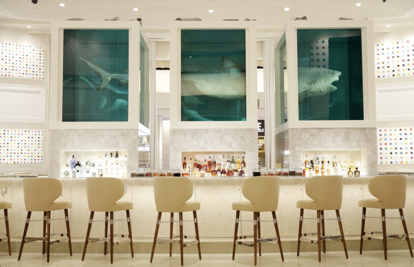 Damien Hirst S Sharks From The Met To A Vegas Casino Bar Artworks Swim Between The High And Low Los Angeles Times