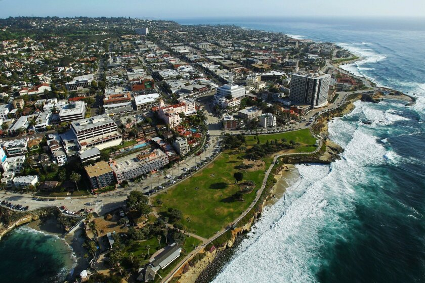 The countywide median home price was $456,750 in October, CoreLogic reported Wednesday. La Jolla Cove in La Jolla. | aerials (Photo Credit: K.C. ALFRED/U-T San Diego)