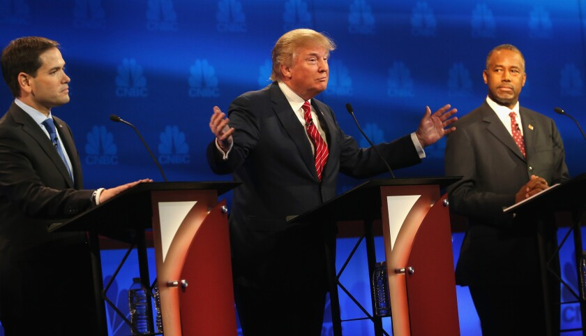 Sen. Marco Rubio (R-Fla.), left, Donald Trump and Ben Carson onstage at the CNBC Republican presidential debate Oct. 28, 2015, in Boulder, Colo.