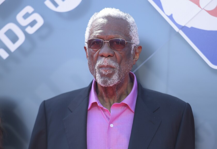 In this June 25, 2018, file photo, Bill Russell arrives at the NBA Awards at the Barker Hangar in Santa Monica.