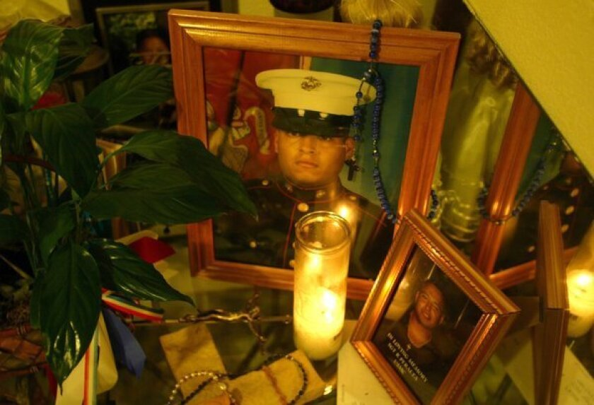 A memorial for Sgt. Rafael Peralta in 2004. (Glenn Koenig / Los Angeles Times / February 21, 2014)
