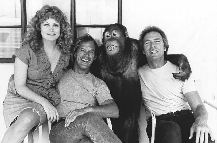 """Geoffrey Lewis, second from left, poses with Beverly D'Angelo, Clyde the orangutan and Clint Eastwood on the set of """"Every Which Way But Loose."""""""