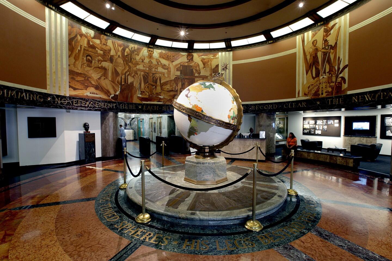 The Art Deco Globe Lobby on 1st Street.
