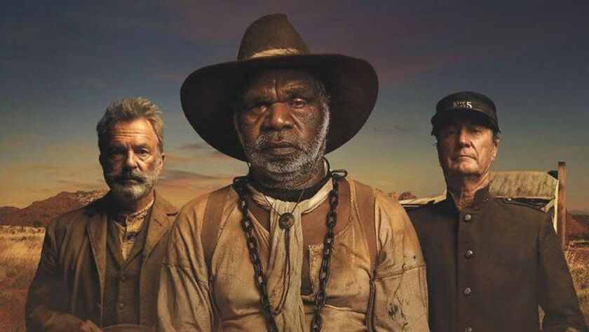 """Sam Neill, left, Hamilton Morris and Bryan Brown in a scene from """"Sweet Country."""""""