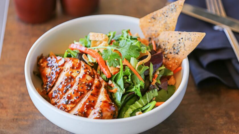 SAN DIEGO, CA June 28th, 2018 | This is the Warm Asian Glazed Chicken with salad dish at Basille res