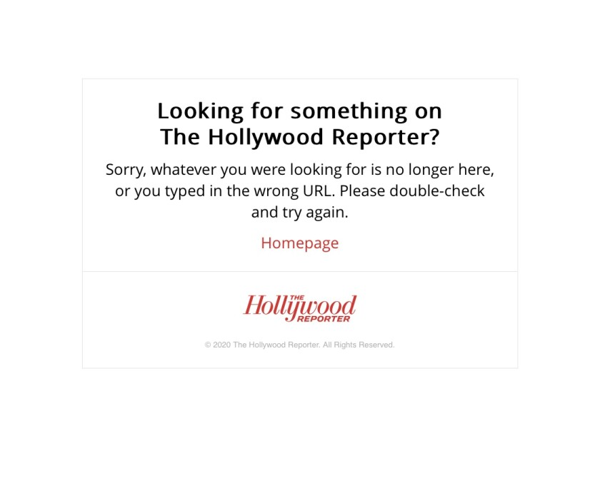 Shown is a screenshot of the Hollywood Reporter's home page on Wednesday afternoon when it was temporarily down.