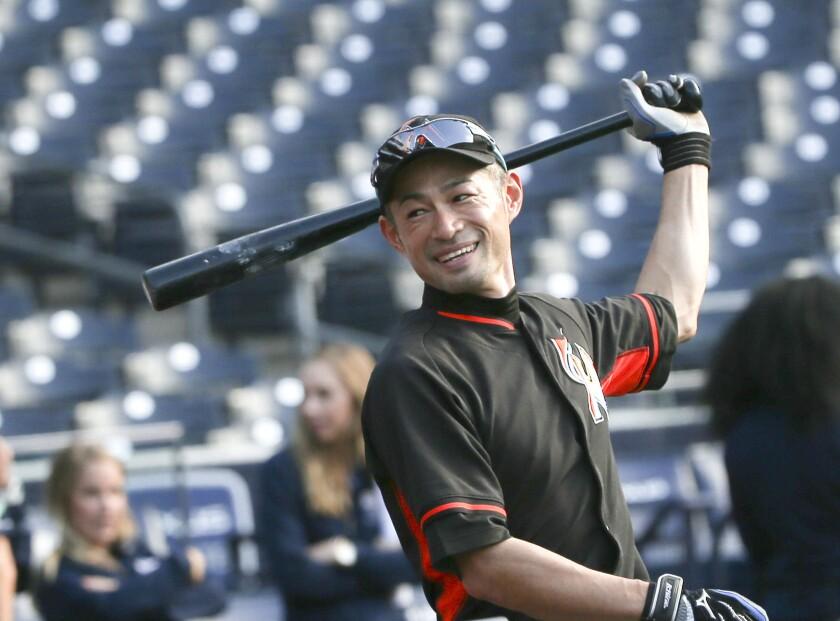 Miami's Ichiro Suzuki takes batting practice prior to a game against San Diego on Tuesday.