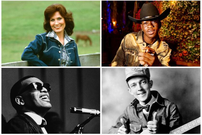 Loretta Lynn, Lil Nas X, Jimmie Rodgers and Ray Charles