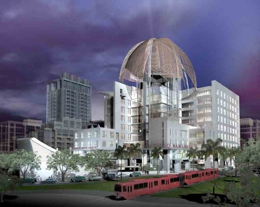 Artist's rendering shows the San Diego Central Library. Courtesy