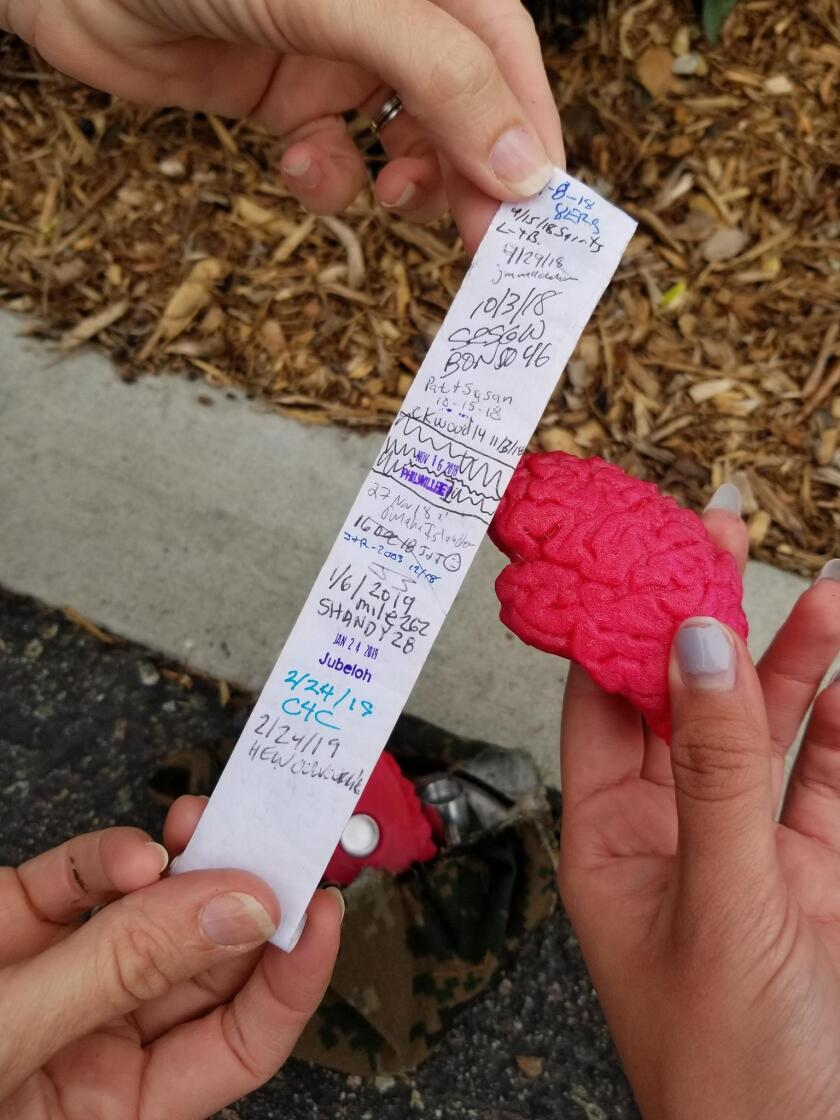 Inside the brain is a paper log of everyone who had already found the geocache.