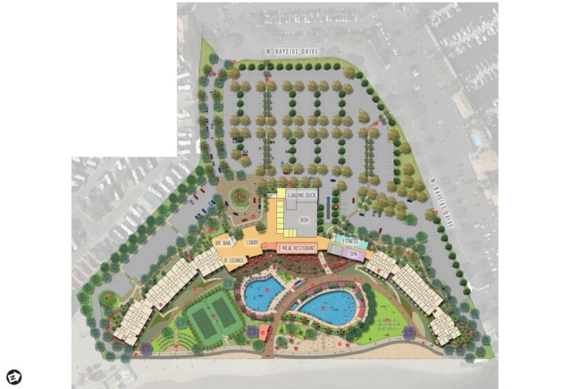 This birds-eye site plan shows the proposed Bayside Family Resort Hotel that would be built at the Newport Dunes Waterfront Resort & Marina. The western shore of the Dunes lagoon is at the bottom.