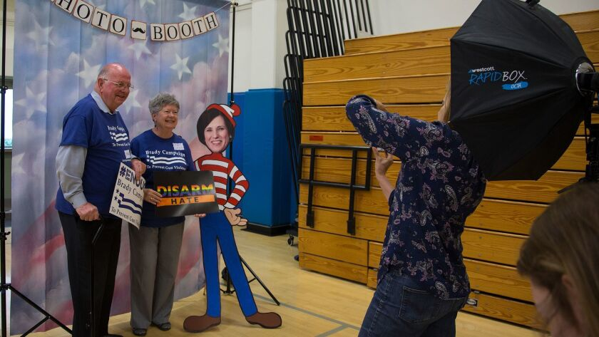 IRVINE, CA - MAY 9, 2017: Charlie and Mary Leigh Blek of Trabuco Canyon get their photo taken with a