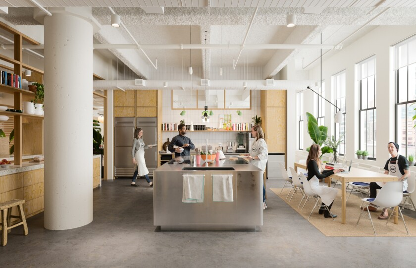 A rendering of WeWork Food Labs, which opened a temporary space in New York City earlier this year while their flagship location is set to open in late 2019.