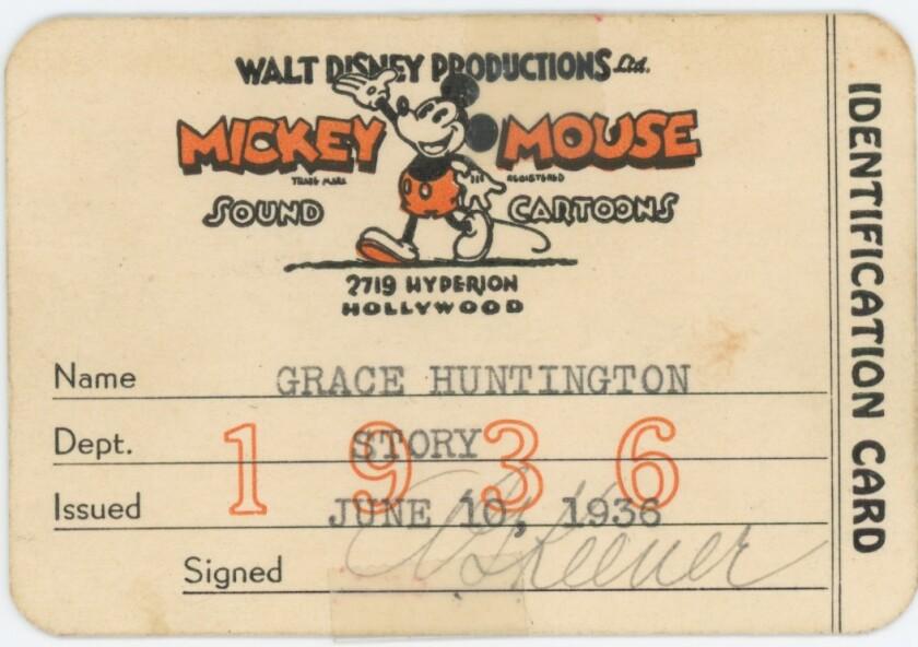 Artist Grace Huntington's 1936 studio ID card, with a Mickey Mouse cartoon.