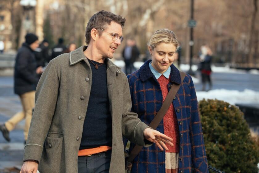 "Ethan Hawke and Greta Gerwig star in ""Maggie's Plan."""