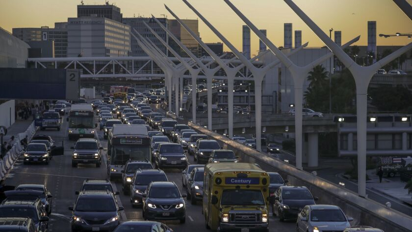 Traffic at LAX backs up in this Nov. 22, 2017, file photo. Officials were expecting gridlock in and around the airport on Sunday following the Thanksgiving holiday.