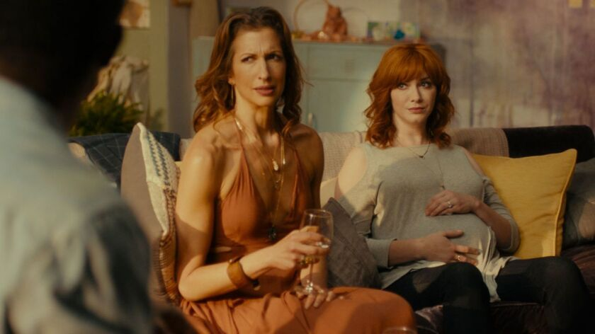 "Alysia Reiner, left, and Christina Hendricks in ""Egg"" MUST CREDIT: Handout photo from Gravitas Ventu"