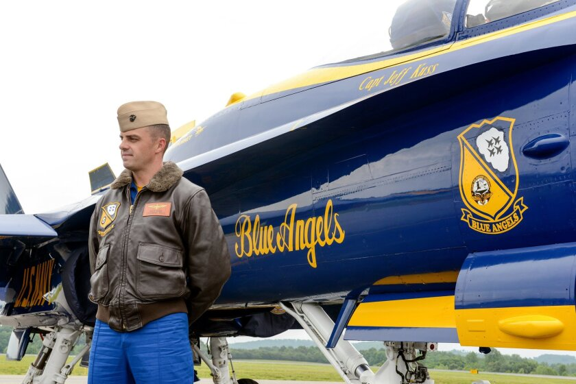 This May 19, 2016, photo shows Marine Capt. Jeff Kuss at an air show in Lynchburg, Va. A Blue Angels F/A-18 fighter jet crashed Thursday, June 2, near Nashville, Tenn., killing the pilot just days before a weekend air show performance, officials said. A U.S. official said the pilot was Kuss. (Matt