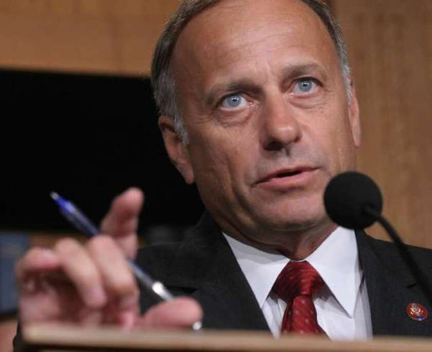 In this 2007 file photo, Rep. Steve King (R-Iowa) speaks to reporters on Capitol Hill in Washington.
