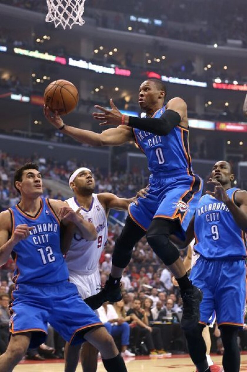 Russell Westbrook goes for a layup against the Clippers at Staples Center.