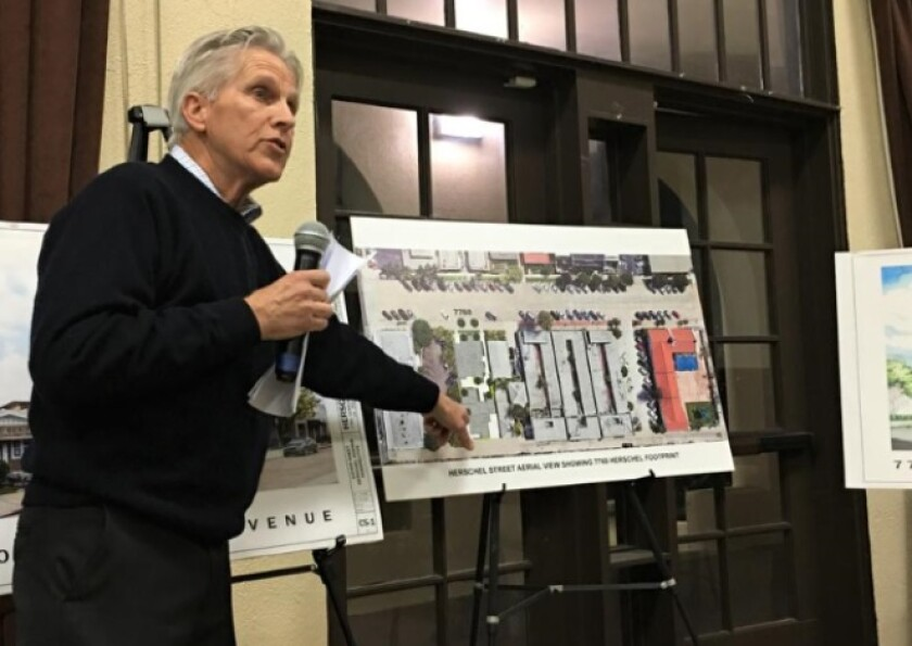 Architect Richard Gombes describes the four-unit condominium project he plans to build on a current parking lot at 7600 Herschel Ave. during the La Jolla Community Planning Association's Feb. 6 meeting at the Rec Center.