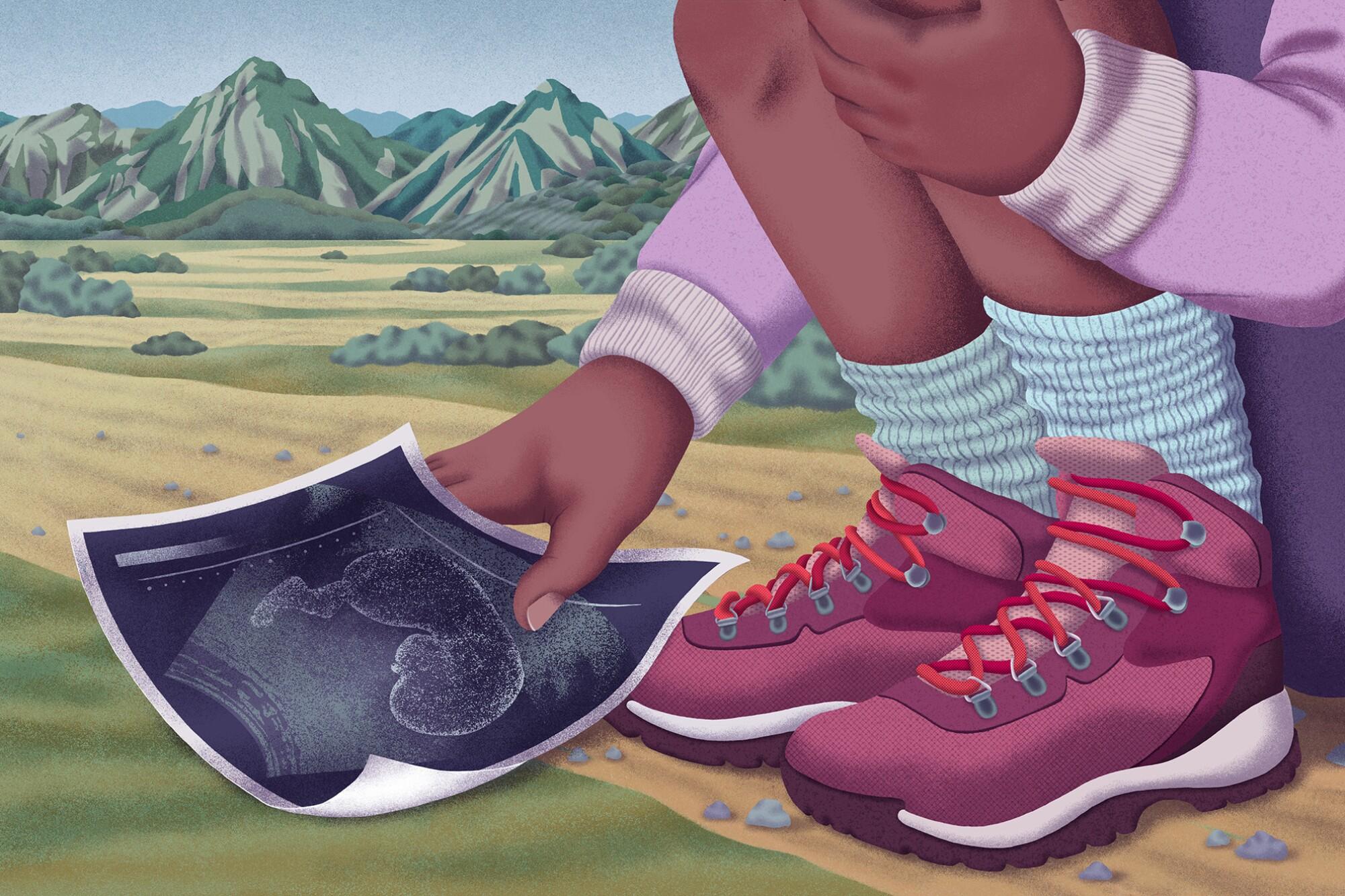 Illustration of a hiker