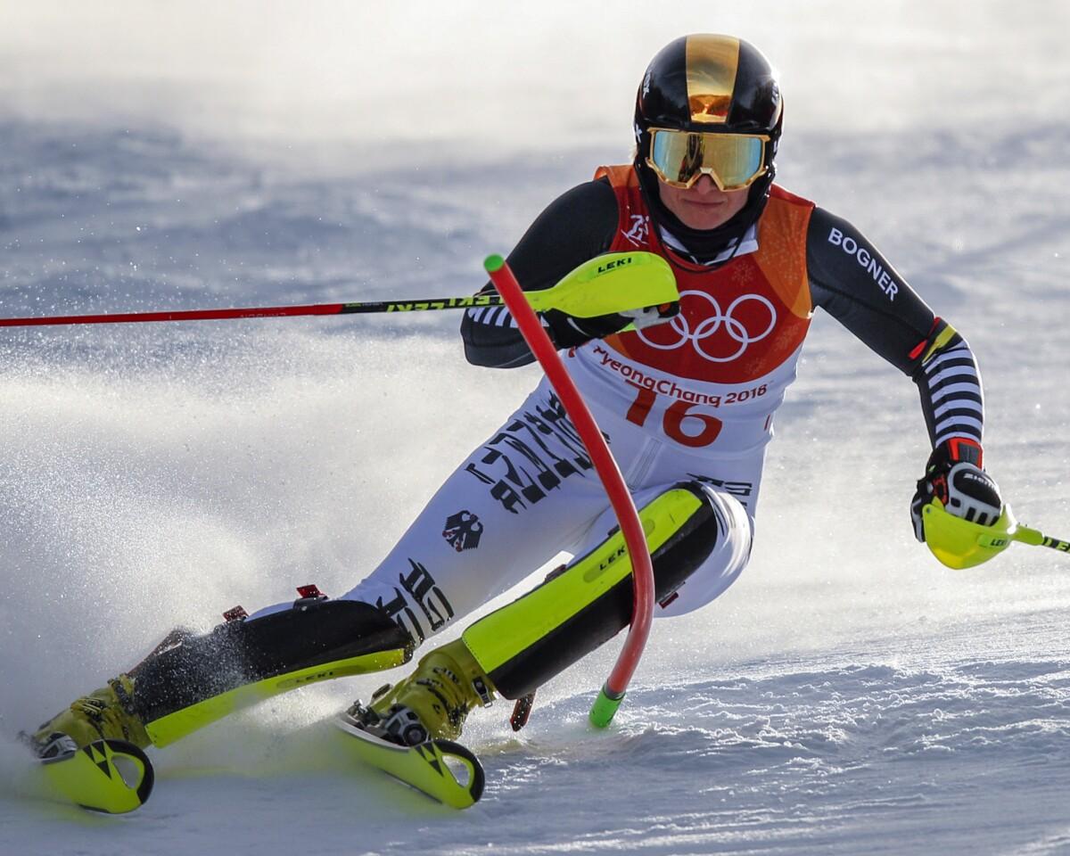 Marina Wallner, of Germany, skis during the first run of the women's slalom at the 2018 Winter Olympics in Pyeongchang, South Korea, Friday, Feb. 16, 2018. (AP Photo/Jae C. Hong)