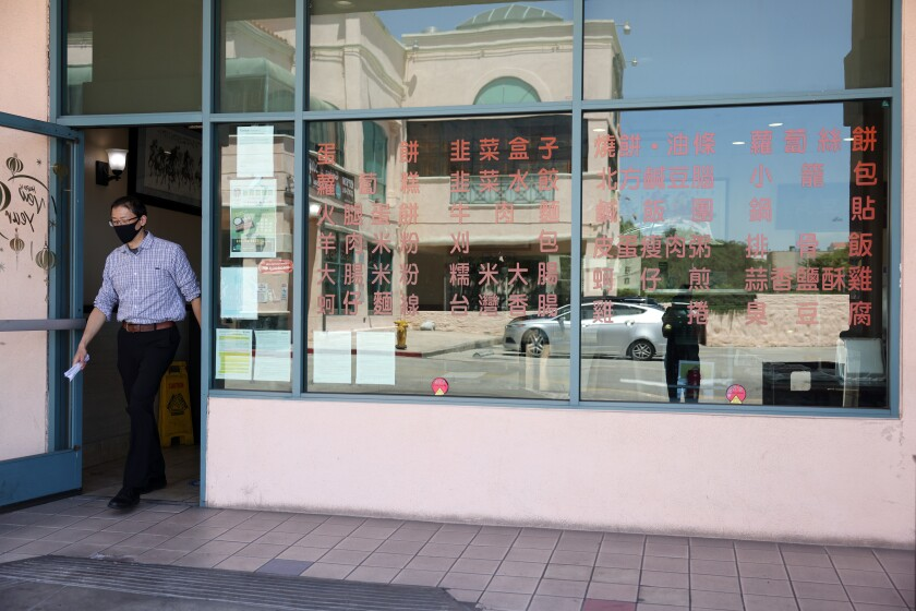 A customer leaves YungHo a Taiwanese breakfast cafe on Valley Boulevard.