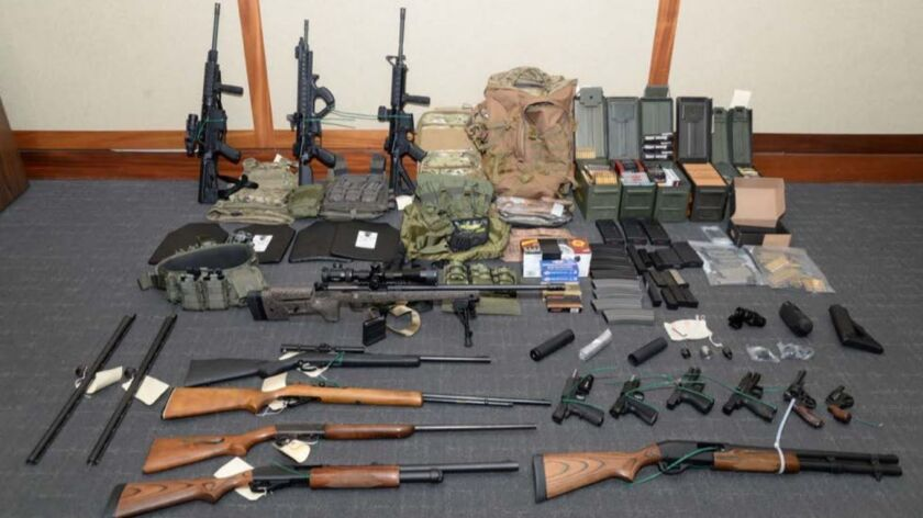 Federal agents say they found this cache of weapons and ammunition in Christopher Paul Hasson's Silver Spring, Md., apartment.