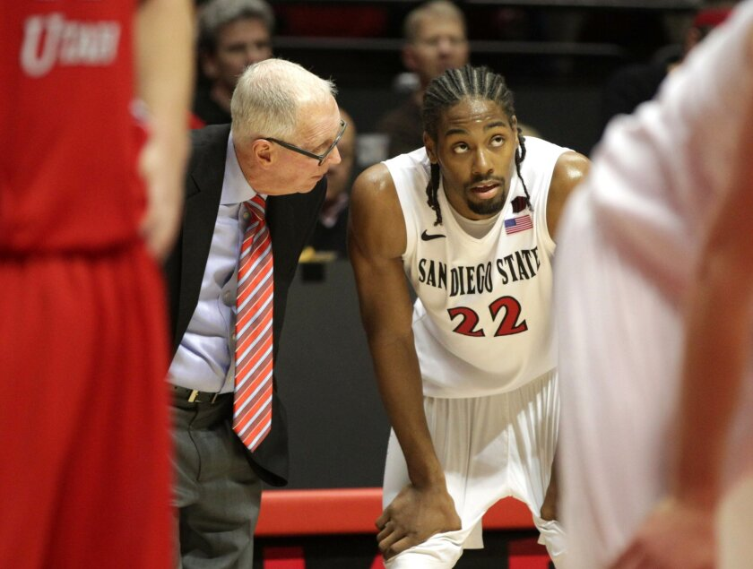 San Diego State vs Southern Utah University Mens Basketball at Viejas Arena on the campus of San Diego State. Steve Fisher talks with Josh Davis in the second half.