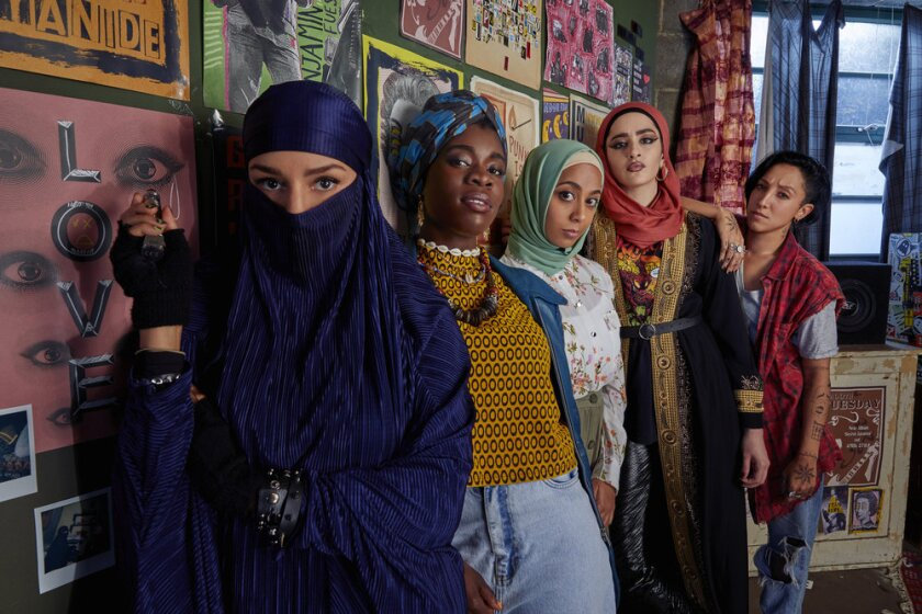 """The five members of the all-girl Muslim punk band in Peacock's """"We Are Lady Parts"""""""