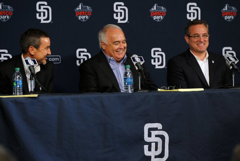 Peter Seidler,  Ron Fowler of the San Diego Padres new ownership group, along with Padres CEO Tom Garfinkel speak at a news conference at Petco Park to talk about the new ownership deal on Wednesday, August 29, 2012.