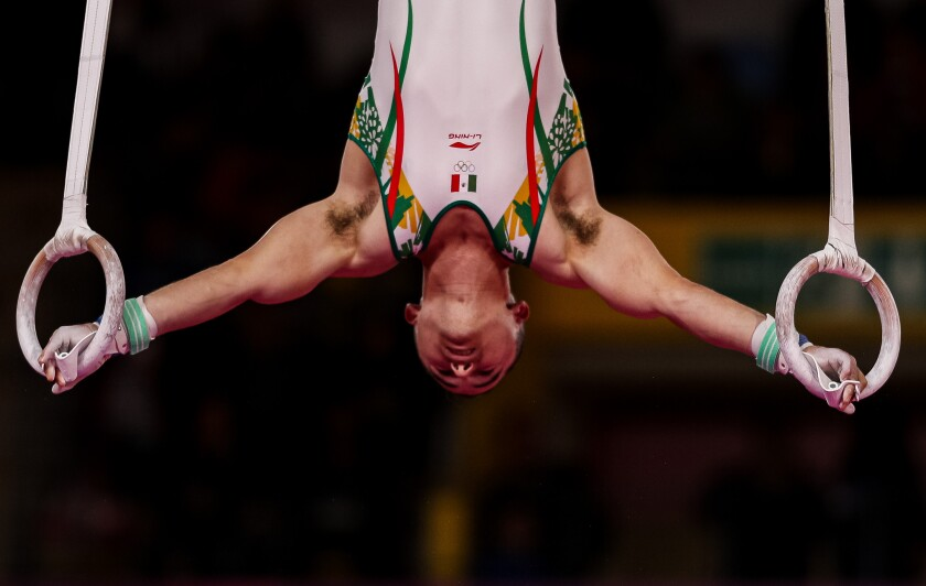 LIMA, PERU - JULY 30: Fabian de Luna of Mexico competes in Men's Rings Final at Polideportivo Villa El Salvador on Day 4 of Lima 2019 Pan American Games on July 30, 2019 in Lima, Peru. (Photo by Buda Mendes/Getty Images) ** OUTS - ELSENT, FPG, CM - OUTS * NM, PH, VA if sourced by CT, LA or MoD **