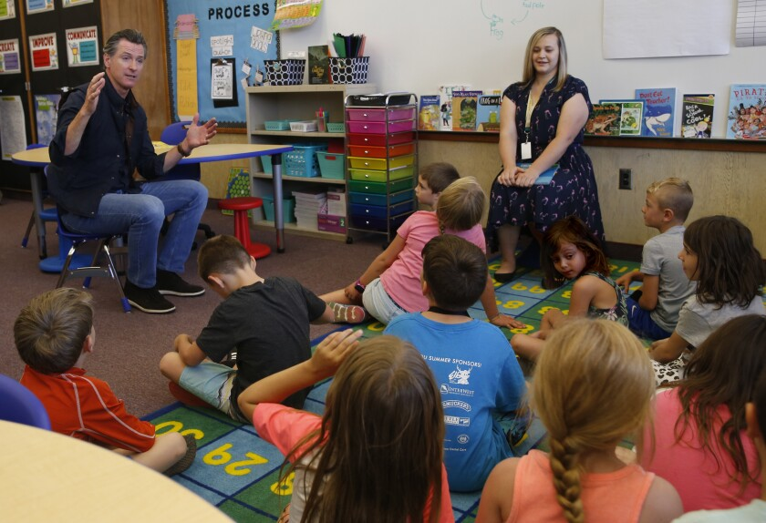 Gov. Gavin Newsom visits a classroom in Paradise, Calif.