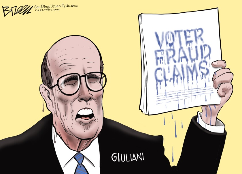In this Breen cartoon, claims of voter fraud melt off the page just like Rudy Giuliani's hair dye