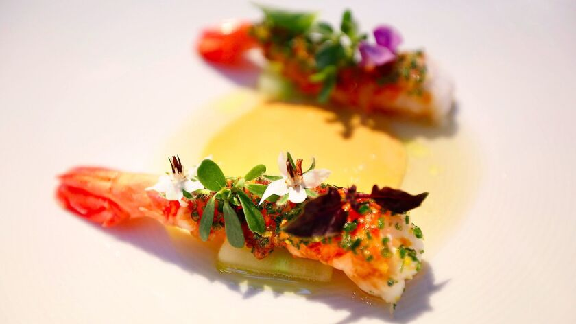 Santa Barbara spot prawns with crème d'oursins, cucumber and citrus chive butter at Melisse restaurant in Santa Monica.